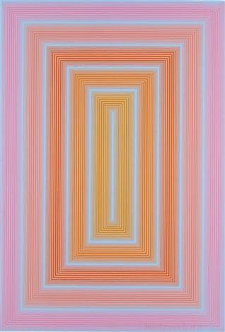 reflections i blue line with ochre center by richard anuszkiewicz