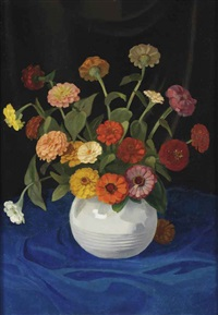 a still life with flowers by dirk smorenberg