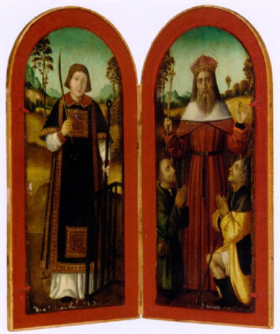 saint lawrence and saint louis with two pilgrims by french school avignon 16