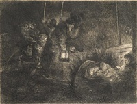adoration of the shepherds: a night piece; nude man seated on the ground with one leg extended; and the triumph of mordecai (3 works) by rembrandt van rijn