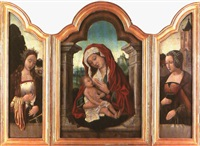 die mutter gottes mit dem jesusknaben und den heiligen katharina von alexandrien und barbara (triptych, various sizes) by flemish school-bruges (16)