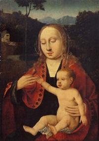 le vierge à l'enfant sur fond de paysage by master of saint sang
