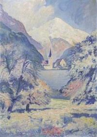 vue d'un village au pied d'une montagne by alexandre joseph alexandrovitch