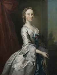portrait of a young lady, in a white silk dress with blue ribbons, standing before a red curtain, a view to a landscape beyond by joseph highmore