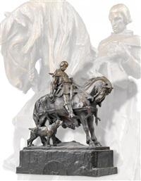 rudolf i. von habsburg zu pferde mit jagdhund by hans müller