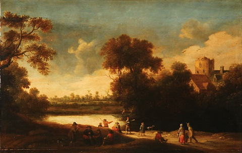 landscape with figures and distant windmill and buildings by joost cornelisz droochsloot