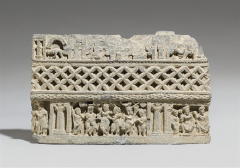 a gandhara grey schist architectural fragment pakistan 3rd4th century