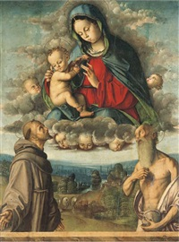 the madonna and child appearing to saints francis of assisi and jerome by francesco zaganelli