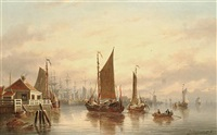 port scene at sunset by johannes hilverdink