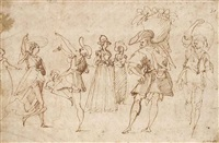 a sheet of figure studies: a man and woman dancing, two elegant ladies, and two men carrying baskets on their shoulders by jacopo zucchi