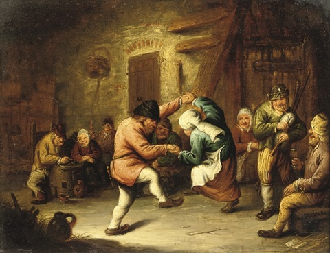 boors dancing in an inn by gerrit lundens