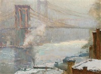 brooklyn bridge, winter by charles vezin