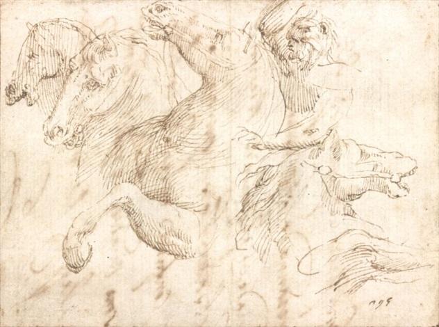 etude de cavalier et de têtes de chevaux by francesco allegrini