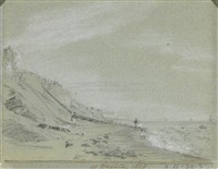 a view of brighton beach with figures on the shoreline by john constable