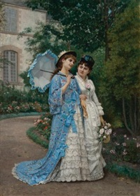 a garden stroll by auguste toulmouche