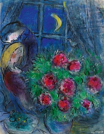 les pivoines des amoureux au clair de lune by marc chagall