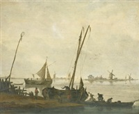 fishermen mooring their boats on the bank of a river by jacob esselens