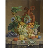 a still life with fruit and flowers by anthony oberman