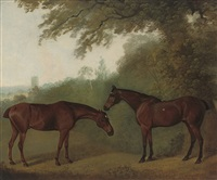 'printer' and 'simon,' two chestnut hunters in a landscape by clifton tomson