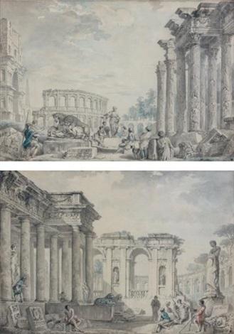 paire de vues de ruines romaines animées lune avec le colisée by giovanni paolo panini
