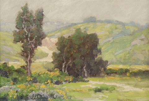 yellow flowers in a california landscape by maurice braun