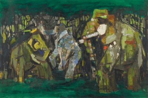 elephants one by maqbool fida husain