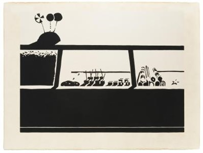 """candy counter, from """"seven still-lifes and a rabbit"""" by wayne thiebaud"""