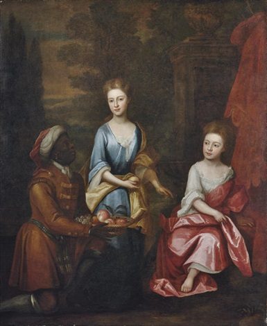 portrait of two sisters in a blue dress with yellow wrap and a white dress with pink wrap by william aikman