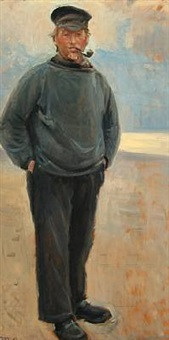 costal scenery with a fisherman smoking his pibe by michael peter ancher