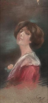 portrait of a girl with a red dress and orange flower by spyridon prosalentis