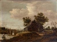 fermes en bordure de rivière, à gauche, à l'arrière-plan, un village avec son église et son moulin by dirk-raphaelsz camphuysen
