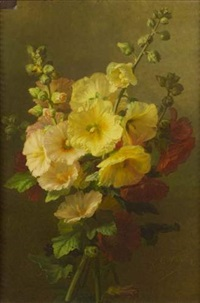 bouquet de roses tremieres by e. corpetz