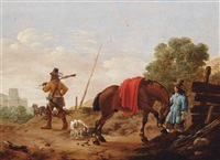 a landscape with huntsmen, a horse and dogs near a fence by pieter cornelius verbeeck