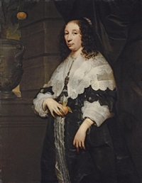 portrait of a lady, in a black dress and a lace collar, holding an orange by arnold van ravesteyn