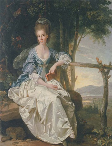 portrait of miss matilda clevland seated in a blue and white dress holding a red book in her left hand in a tuscan landscape by johann joseph zoffany