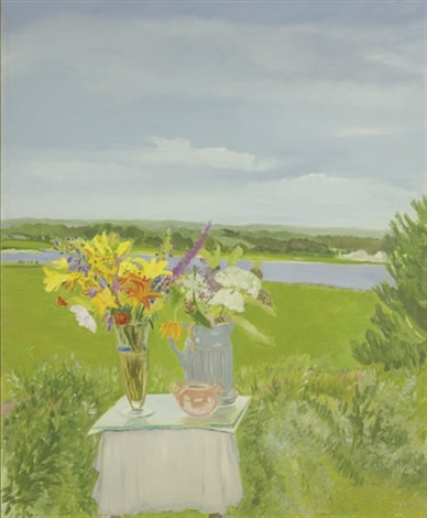 lizzies flowers in a landscape by jane freilicher