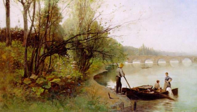 pastoralt flodlandskap by gustaf adelsward