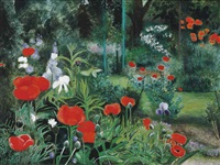 poppies and iris by janet lippman