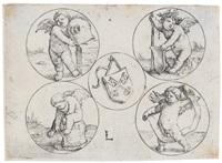das stadtwappen von leyden zwischen vier kreisen by lucas van leyden