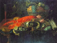 nature morte au homard et au panier de fruits by wouter mertens