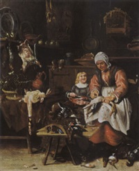 a kitchen interior with a maid plucking a duck and a little boy eating porridge by sybrand van beest
