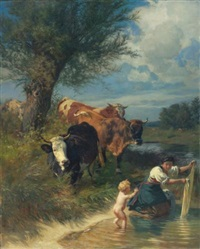 kühe und wäscherin am bach (cows and washerwoman near a brook) by johann rudolf koller