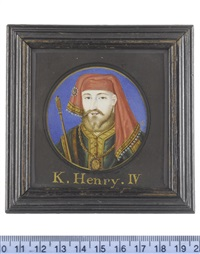 henry iv (1367-1413), king of england and lord of ireland (1399-1413), wearing emerald green tunic edged with gold and brown fur, white linen shirt edged with gold by bernard (goupy) lens iii