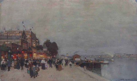 a crowd in front of a theatre on the bank of the seine by luigi loir