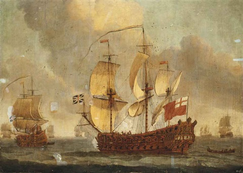 an english fourth rate ship of the line thought to be the 46 gun hms mordaunt announcing her departure from the fleet anchorage by willem van de velde the elder