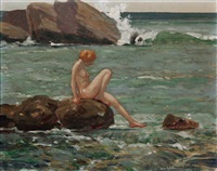 nude seated on rocks in ocean landscape by john jay baumgartner