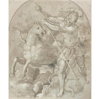 bellerophon slaying chimera by giuseppe (salviati) porta