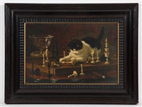 kitten with chessboard by henriette ronner-knip
