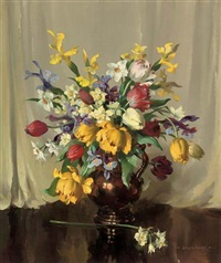 tulips, irises and narcissi in a copper jug by vernon ward