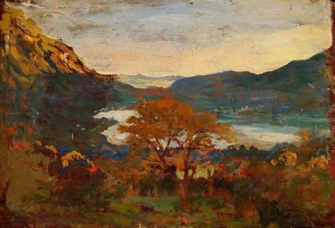 sommerliche gebirgslandschaft mit see by giovacchino galbusera